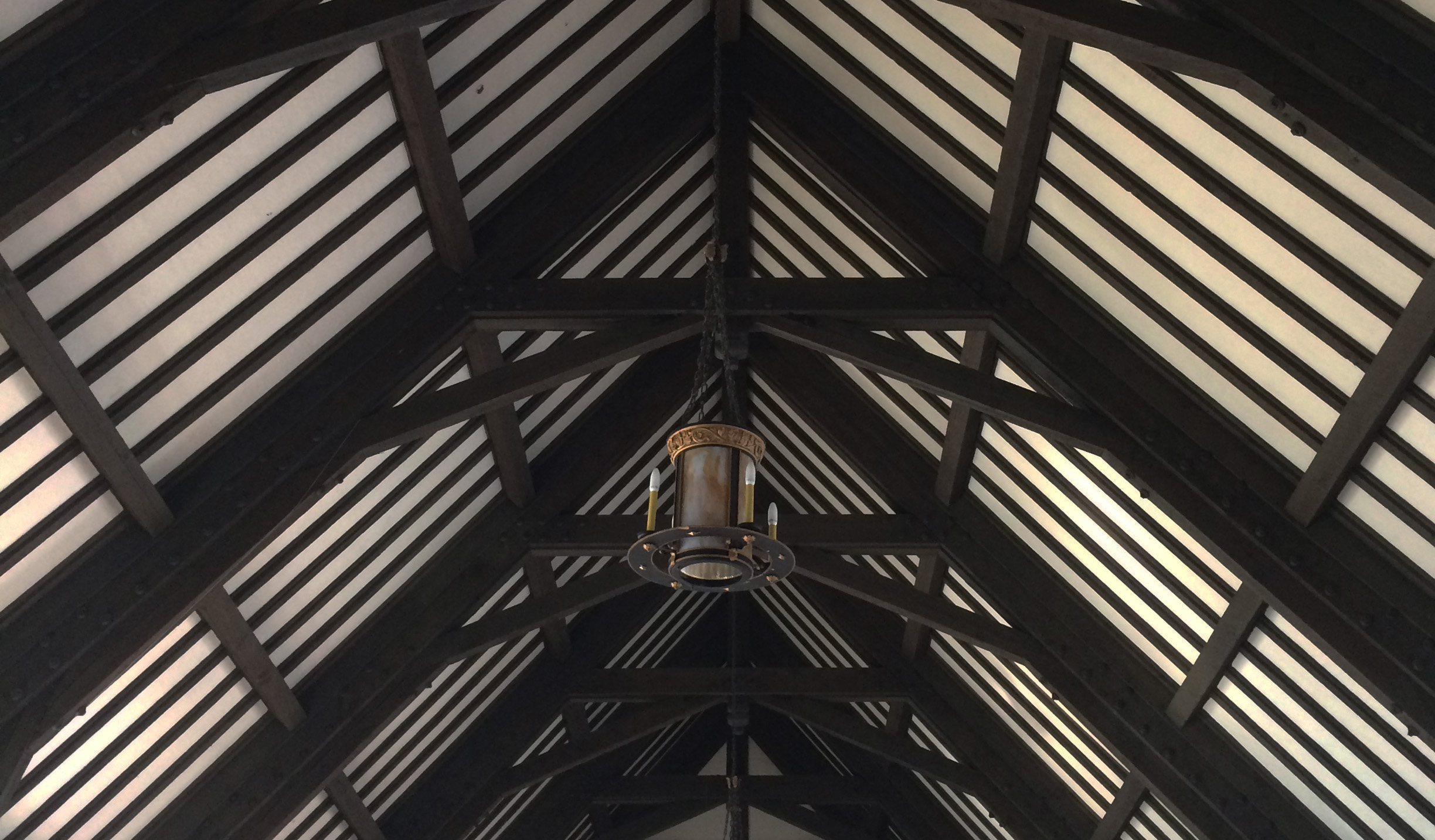 The wood-beamed ceiling of Wesley's Great Hall