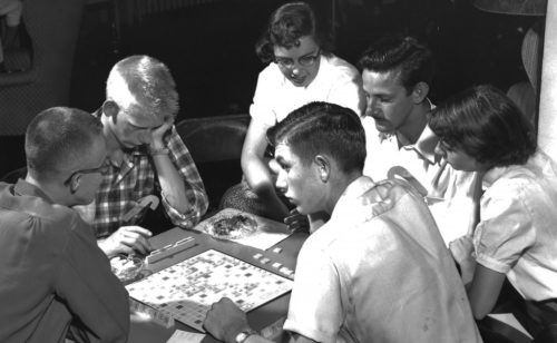 Students playing Scrabble at Wesley in the 1950s
