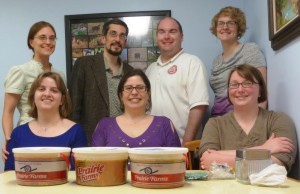 Allie Jones, furthest right in the back row, and other members of the Grad Study post with soup made for a local shelter.